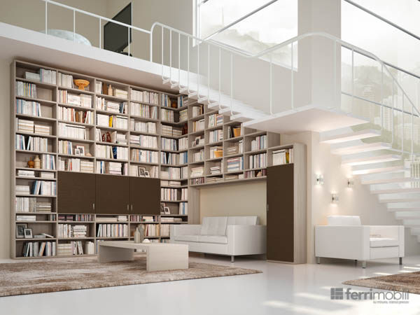 Librerie su misura ferri mobili for Librerie in legno componibili